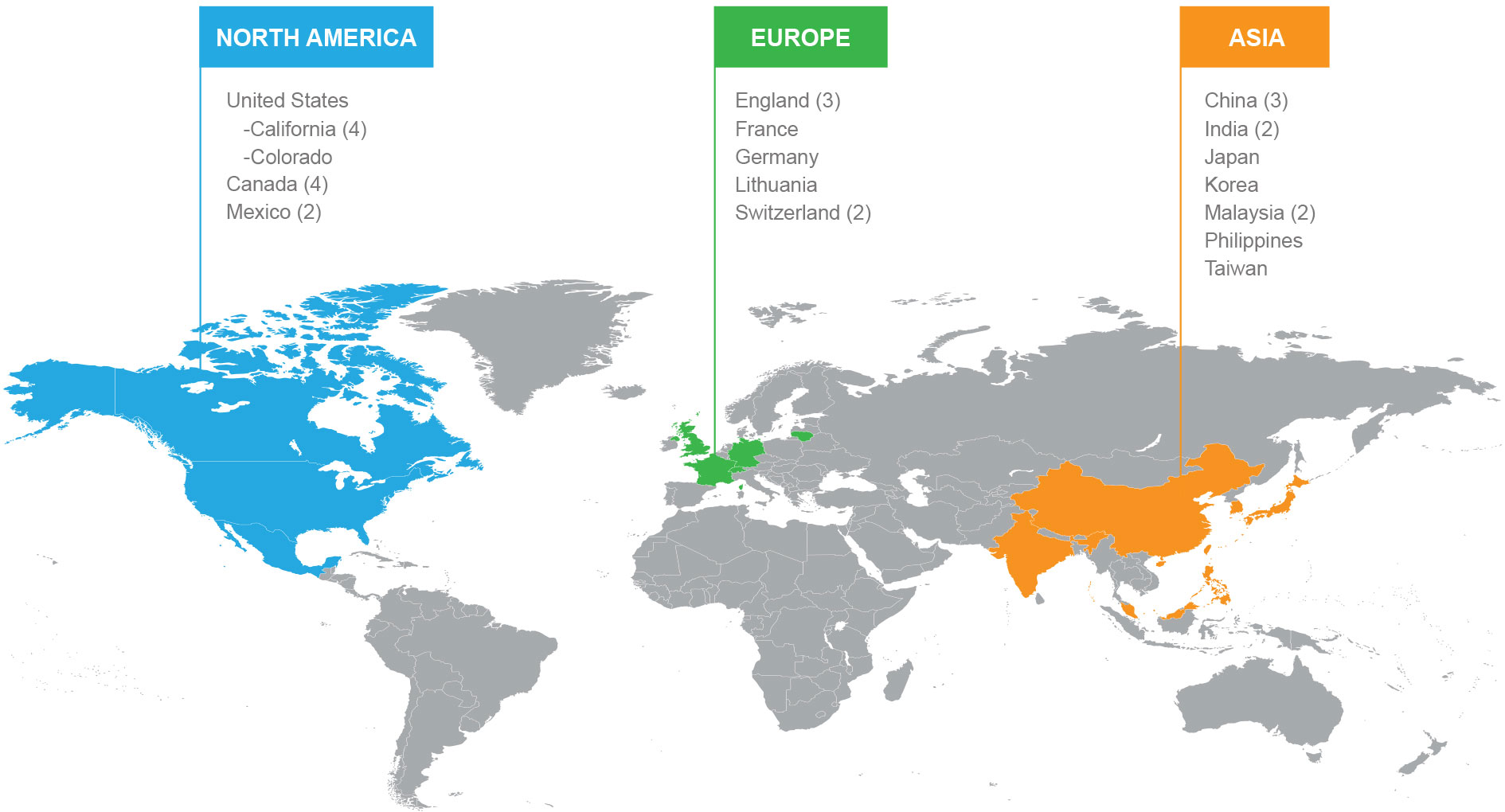 Semtech Worldwide Locations Map